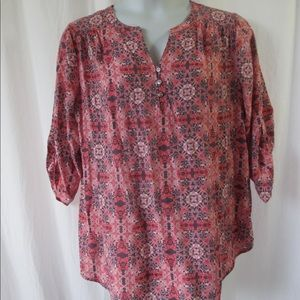 Fred David Tunic Top Sz 1X Pink Boho Style Cute!